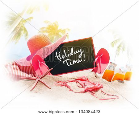 Text Holiday Time Summer Accessories On Sand Beach