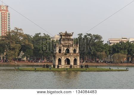 Hanoi Vietnam - 21 February 2016: Sunset view of the Hoan Kiem Lake (Lake of the Returned Sword) and the Turtle Tower