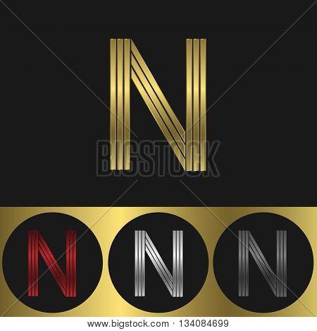 N Letter logo. Metal business emblem. Golden silver red and black colors