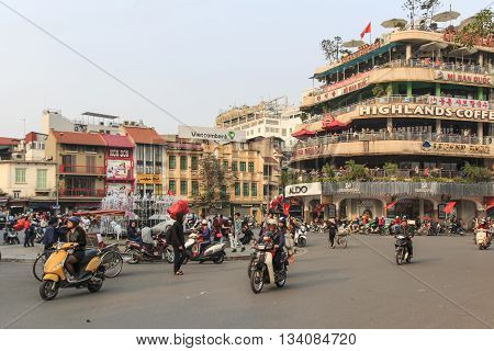 Hanoi Vietnam - 21 February 2016: Traffic in the city center of Hanoi nearby the Hoan Kiem lake