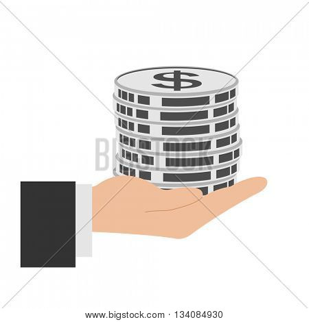 Business Icons. Money in Hand isolated on white. Vector Illustration.