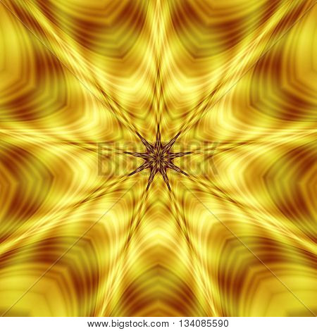 Abstract pattern of gold and red vibrating rotating shapes creating illusion of movement
