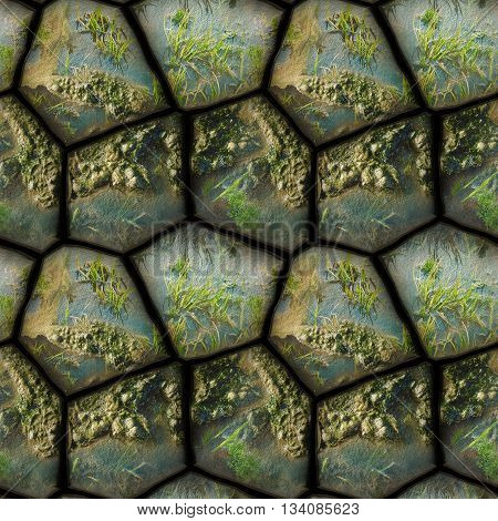 Natural seamless 3d pattern of stones, mud and water plants