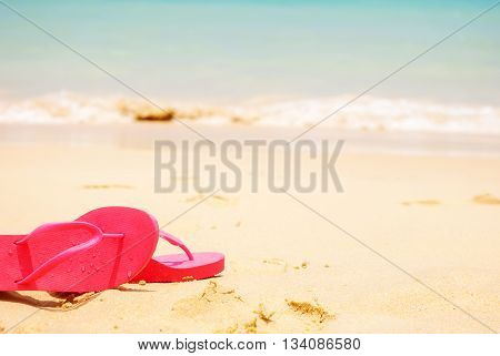 Holiday Accessories Slippers On Beach Sea Sand