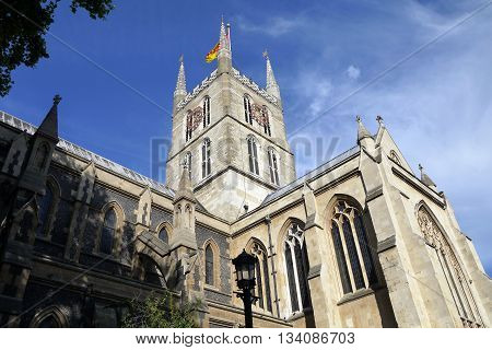Looking up at Southwark Cathedral, Southwark, London, United Kingdom