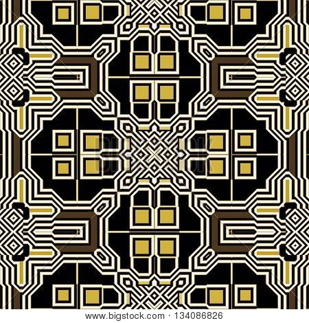Abstract seamless retro black, white and gold pattern of squares, rectangles and geometric motifs