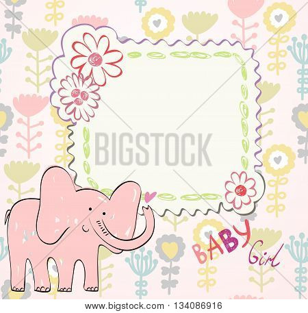 Hand drawn illustration with pink baby elephant.