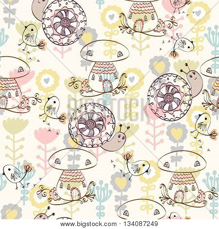 Cute hand draw seamless pattern with a mushroom house and snail.
