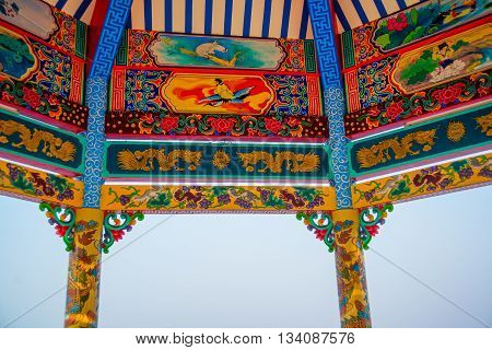 Traditional Chinese  Pavilion With Sunny Day, Udon Thani, Thailand