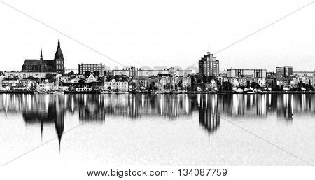 Panorama View to Rostock. River Warnow and City port. Mecklenburg-Vorpommern, Germany