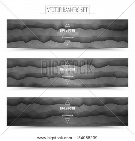 Abstract 3d vector gray waveform digital technology web banners set for business internet advertising ui seo
