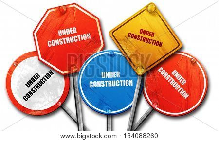 Under construction sign, 3D rendering, rough street sign collect