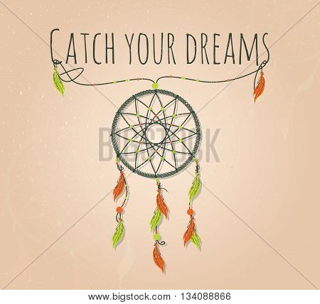Vector dream catcher. Indian symbol for dreams