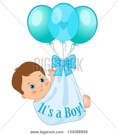 Color Balloons Carrying A Cute Baby Boy. Baby Boy Vector Illustration. Cute Cartoon Babies. Baby Boy Shower Invitation Card. Cute Toddlers.