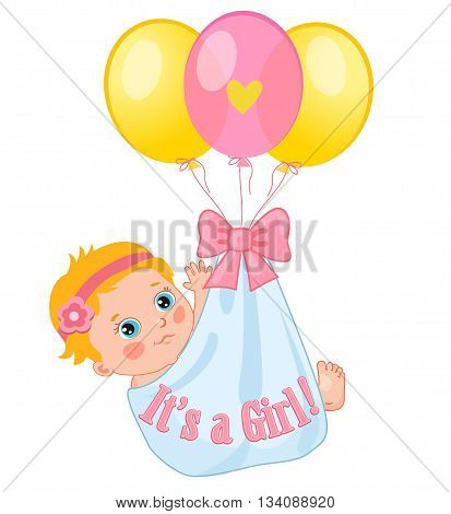 Color Balloons Carrying A Cute Baby Girl. Baby Girl Vector Illustration. Cute Cartoon Babies. Baby Girl Shower. Invitation Card.