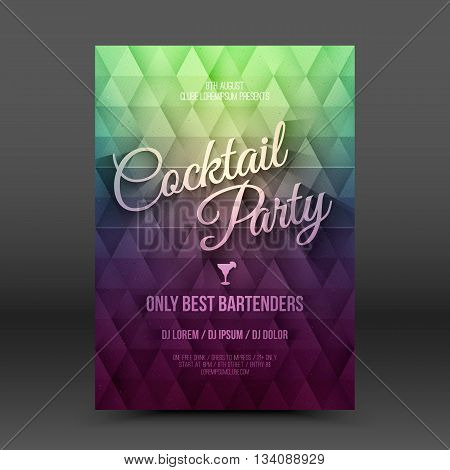 Vector flayer design template with text Cocktail Party