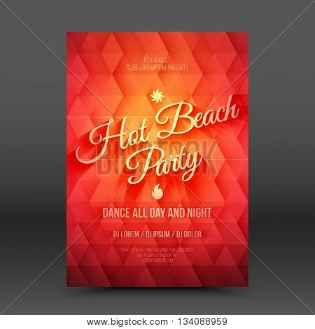 Vector flayer design template Hot Beach Party