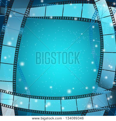 cinema frame square background with film strips over blue background with stripes and glittering particles. vector illustration