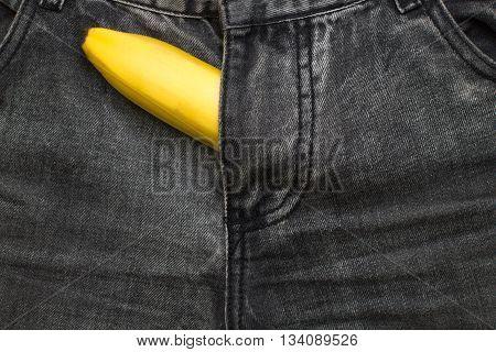 banana fruit inside jeans pants imitation penis