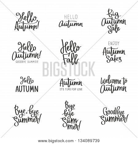 Set of different labels about the autumn. Hello Autumn. Goodbye Summer. Welcome to autumn. The trend calligraphy. Vector illustration on white background. Concept autumn advertising. Elements for design.