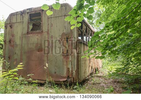 Rusty old container dumped in a forest