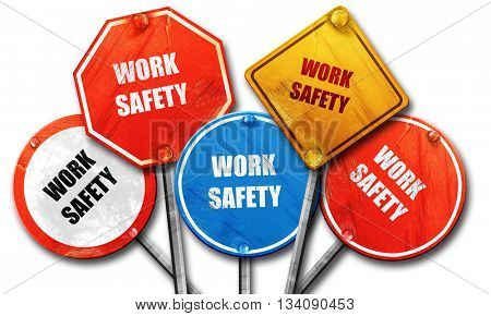 Work safety sign, 3D rendering, rough street sign collection