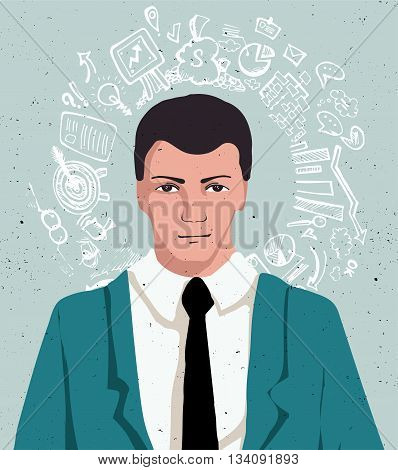 Thinking man with speech cloud, businessman portrait