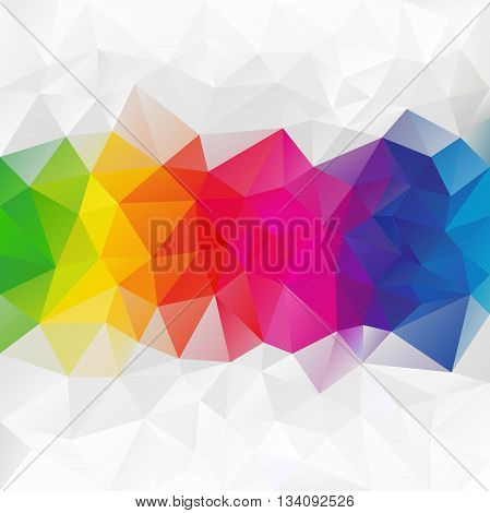 vector abstract irregular polygon background with a triangular pattern in color full rainbow spectrum colors - horizontal strip in the middle