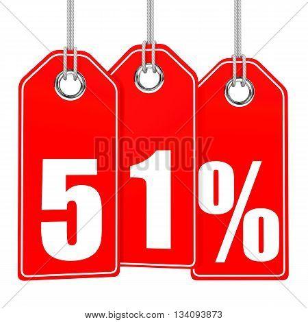 Discount 51 Percent Off. 3D Illustration.