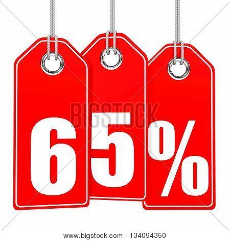 Discount 65 Percent Off. 3D Illustration.