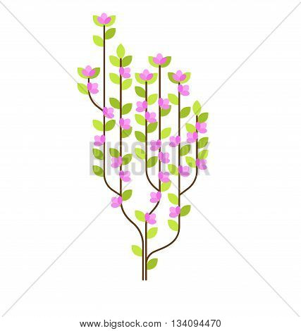 Stylized flowering tree will beautifully suit for your direction of the design Minimalism hitech for design of the book