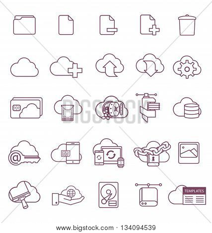 Set of icons, metaphors for cloud services