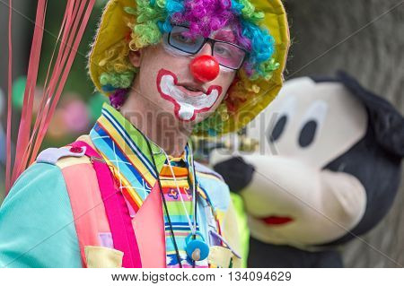 TIMISOARA ROMANIA - JUNE 1 2016: Portrait of clown present at the International Children's Day show organised by the Timisoara City Hall.