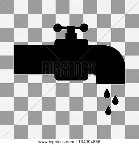 Black Faucet Icon vector on transparent background