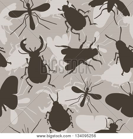 Hand drawn seamless pattern with beetles. Insects for design icons logo print or else. Bee mosquito wasp colorado beetle butterfly stag beetle fly. Vector illustration.