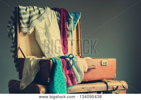 Colorful Female Clothing Scattered Trunk Vintage