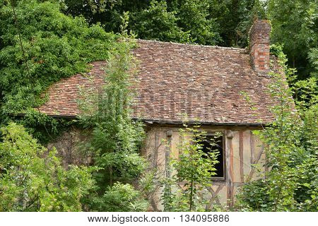 Pont saint Pierre France - july 22 2015 : ruin of an old house in summer