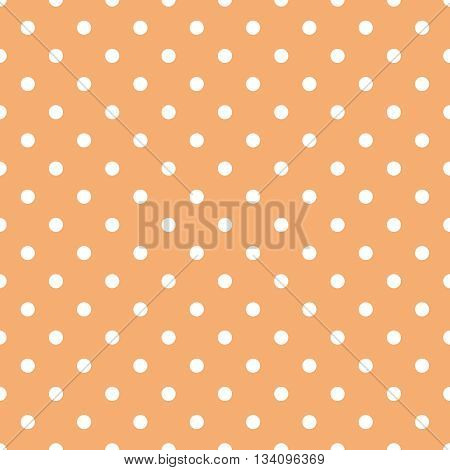 Tile vector pattern with white polka dots on pastel coral orange background