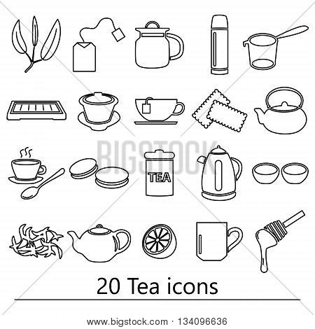 Tea Theme Black Simple Outline Icons Set Eps10