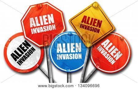 alien invasion, 3D rendering, rough street sign collection