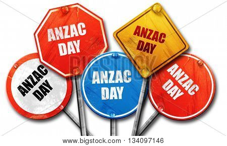 anzac day, 3D rendering, rough street sign collection