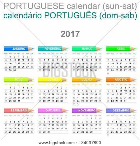 2017 Crayons Calendar Portuguese Version Sunday To Saturday