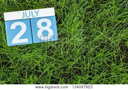 July 28th. Image of july 28 wooden color calendar on greengrass lawn background. Summer day, empty space for text.