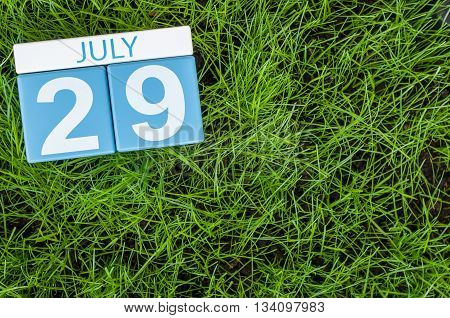 July 29th. Image of july 29 wooden color calendar on greengrass lawn background. Summer day, empty space for text.