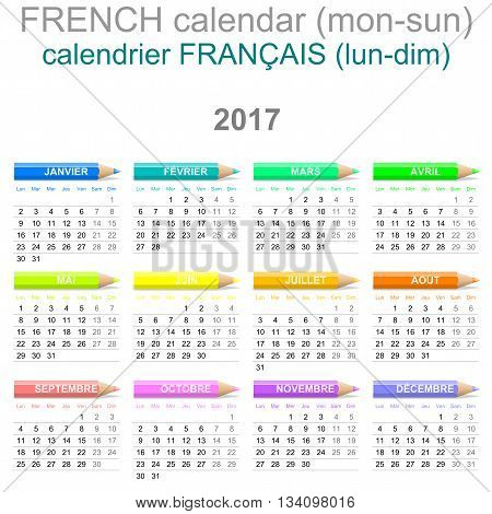 2017 Crayons Calendar French Version Monday To Sunday