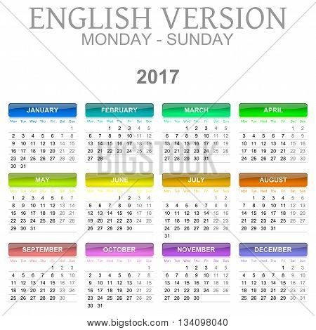 2017 Calendar English Language Version Monday To Sunday