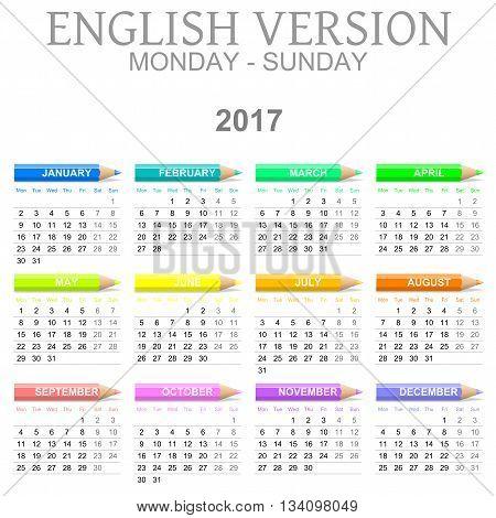 2017 Crayons Calendar English Version Monday To Sunday