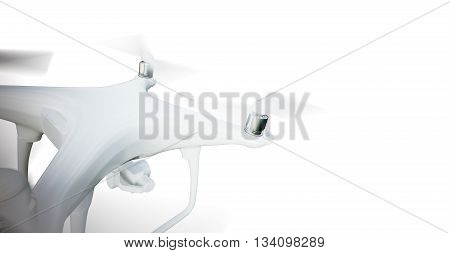 Photo Matte Generic Design Modern Remote Control Air Drone Flying with action camera. Isolated on Blank White Background. Horizontal, top angle view. 3D rendering