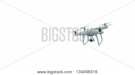 Photo Matte Generic Design Modern Remote Control Air Drone Flying with action camera. Isolated on Blank White Background. Horizontal, front angle view. 3D rendering