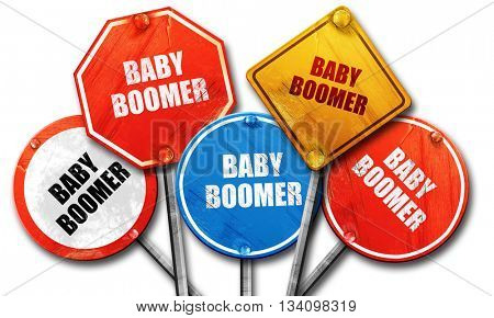 baby boomer, 3D rendering, rough street sign collection